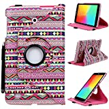 LG G Pad 8 Case, E LV LG G Pad 8 Case Cover - Classic PU Leather 360 Degree Rotating Flip Stand Case Cover for LG G Pad 8.0 V480 with 1 Stylus (Only Compatible with LG G Pad 8.0 V480) - COLORFUL TRIBAL