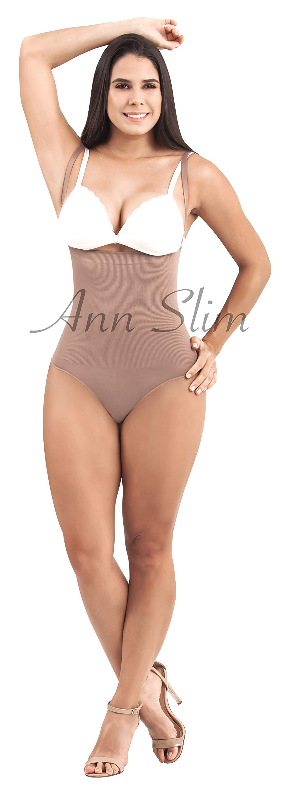 ANN SLIM Women Bodysuit Strapless Thong Body Shaper Fajas Colombianas Moldeadoras TJ02L8 (Cocoa, Large)