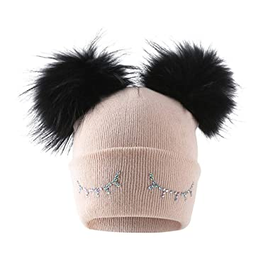 14d857ebfa3 YEBIRAL Fashion Trend Simple Keep Warm Baby Boys Girls Winter Solid Color Knit  Hat Beanie Hairball Warm Cap  Amazon.co.uk  Clothing