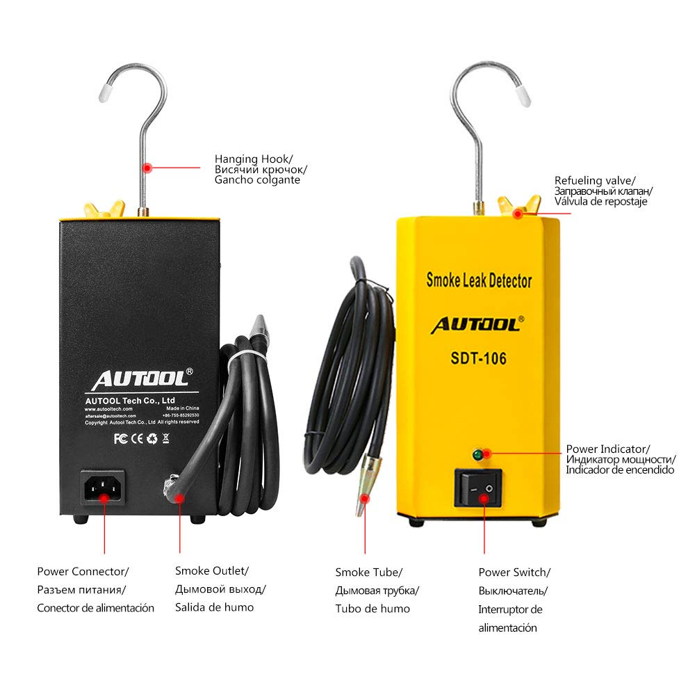 AUTOOL SDT-106 Automotive EVAP Leak Testing Machine, 12V Car Pipe/Tank Leakage Tester for Vehicle Motorcycle Boat by AUTOOL (Image #3)