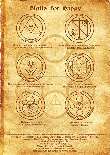 Sigils for Happy Scroll Geniuses Kabbalah Poster Wicca Pagan Print Art Witch Magick Runes ()