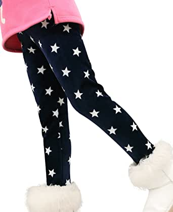Fairy Wings Kids Girls Cotton Colorful Fleece Lined Legging Pants