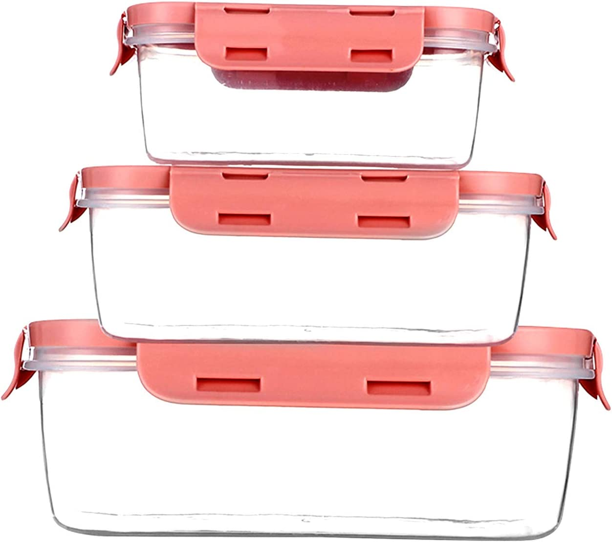 Food Storage Containers with Lids - Plastic Rectangular Food Containers with Lids - Lunch Containers with Lids - Meal Prep Containers -Leak Proof, Microwave & Dishwasher, Stackable, Reusable (pink)