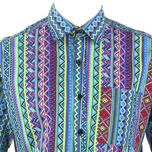 Loud Originals Regular Fit Hemd mit kurzen Ärmeln - blau, lila & grün