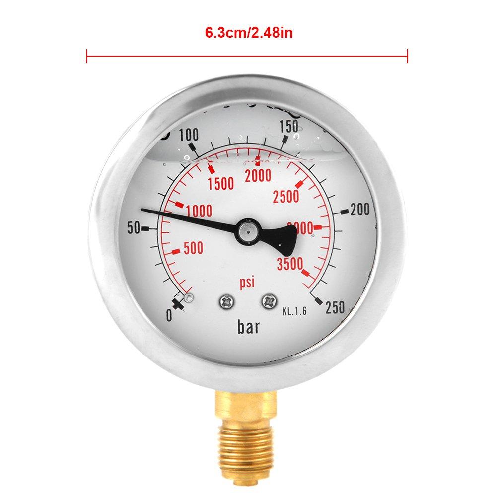 0-250Bar 0-3750PSI G1/4 63mm Dial Hydraulic Water Pressure Gauge Meter