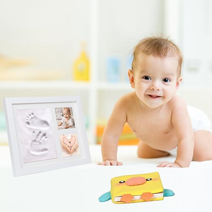 cinoton bebé mano y huella Marco de fotos, con capacidad para álbum de fotos, regalo perfecto de decoración de la sala de decoración de recuerdos de madera ...