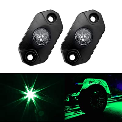 4WDKING Green LED Rock Lights, 2 Pods IP68 Waterproof Underbody Glow Trail Rig Lamp LED Neon Lights for Truck Jeep Off Road Truck Car Boat ATV SUV Motorcycle: Automotive