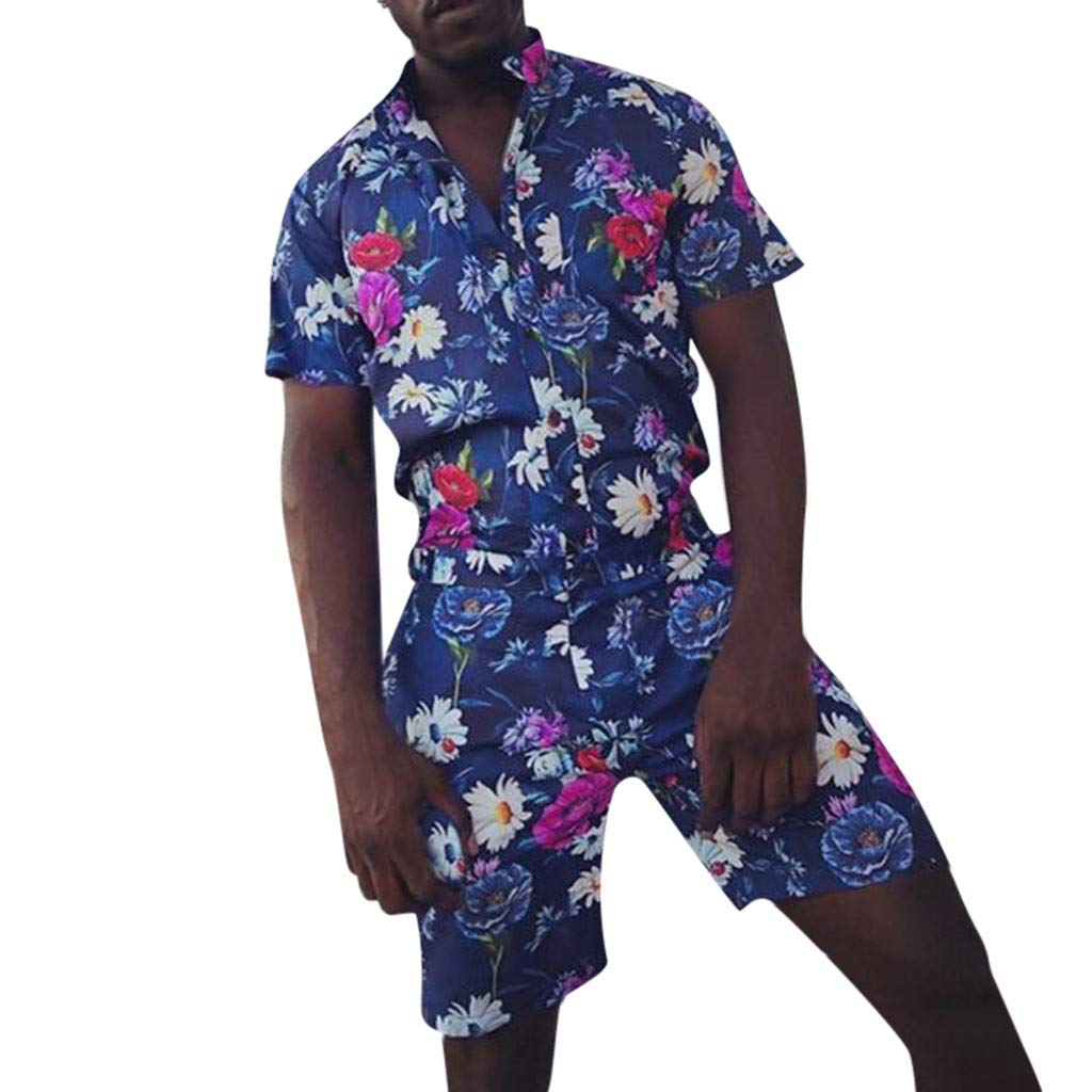 Lomsarsh Men's Shirt Set, Hawaiian Style Casual Loose Print Shirt Set Casual Button Hawaii Print Beach Short Sleeve Quick Dry Suit Holiday Fancy Party Dress