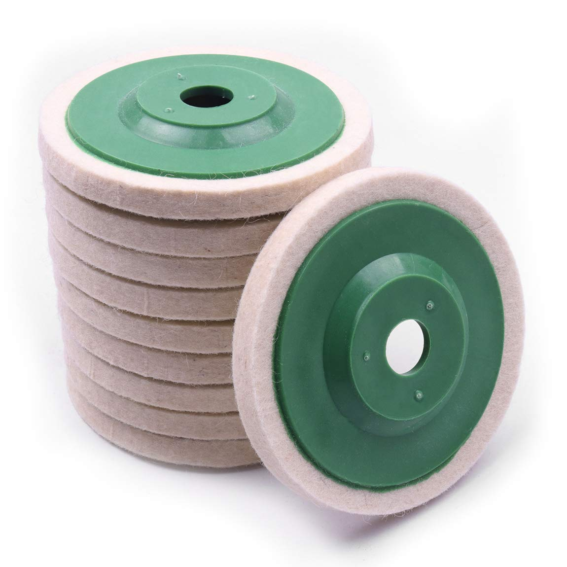 Atoplee 10pcs 4'' 100mm Wool Polishing Buffing Wheel Pad Bore Dia