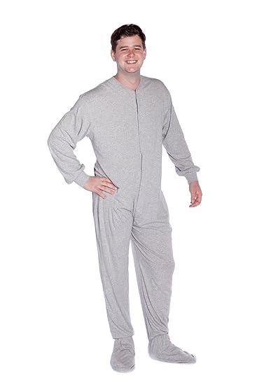 Big Feet Pyjama Co Grey (302) Jersey Knit Adult Footed Pyjamas with Bum  Flap  Amazon.co.uk  Clothing 7fb287287