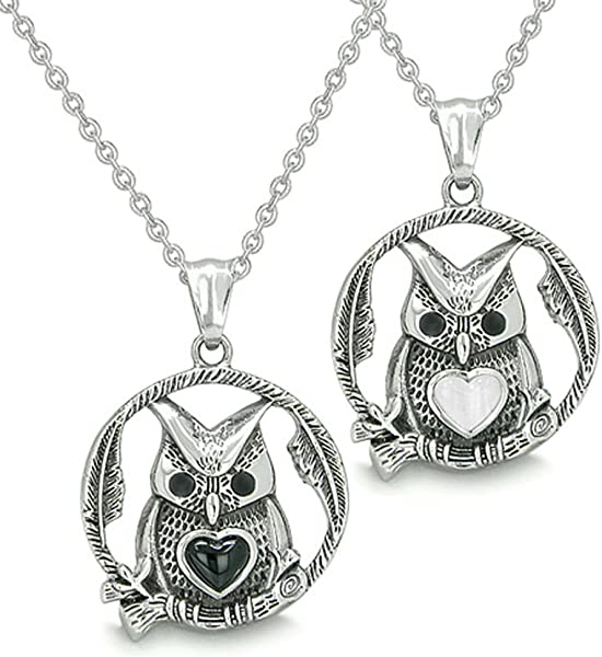 3a38e4bb015 Owl and Cute Heart Love Couple Yin Yang Simulated Onyx White Cats Eye  Pendant Necklaces  Amazon.de  Schmuck