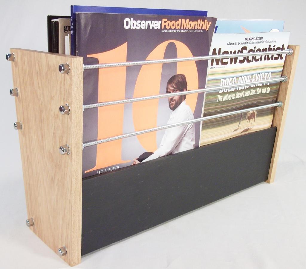 Handmade Natural Slate and Solid Oak Magazine Rack - Modern ...