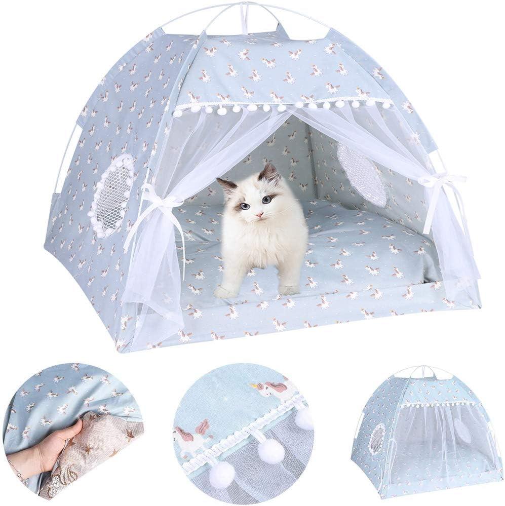 Tienda de campaña para mascotas, portátil, plegable, para cachorros, gatitos, cama para mascotas y exteriores, cuna con toldo para perros pequeños y medianos