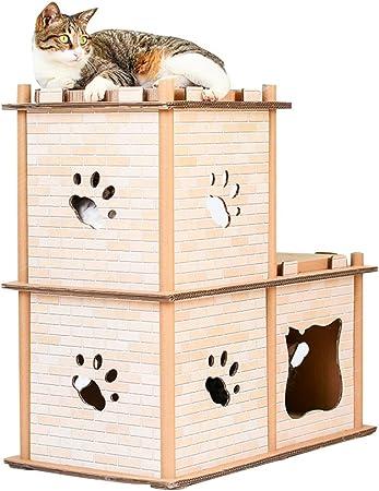 JEELINBORE Divertido Rascador Salón Cama Rascadores para Gatos Jaulas Casita Casa Cajas de cartón Corrugado para Mascota (Estilo # 1, 67.5x37x67.5cm): Amazon.es: Hogar