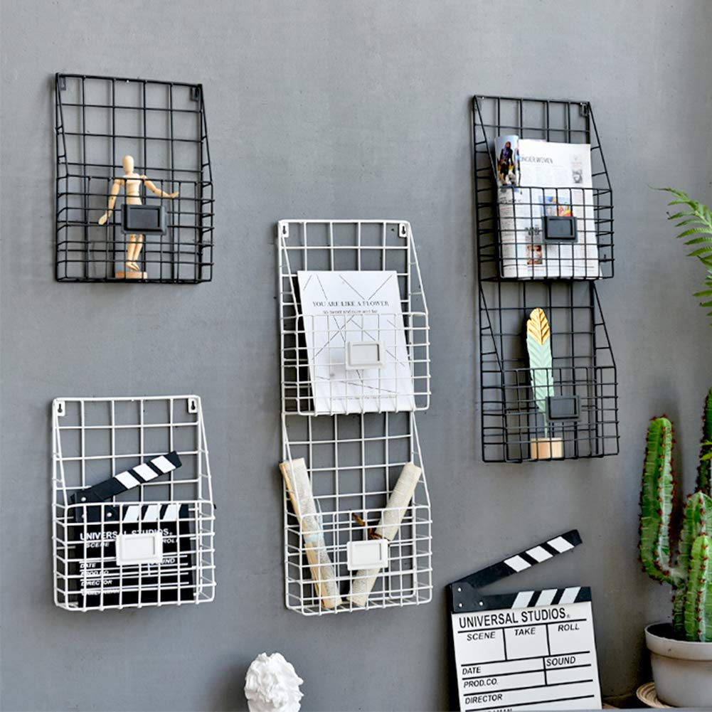 Lovt Wall Mounted Rustic Metal Wire Magazine Storage/Organizer Basket Rack,Wrought Iron Bookshelf Magazine Rack Storage Basket Hanging Shelf (Black) by Lovt (Image #6)