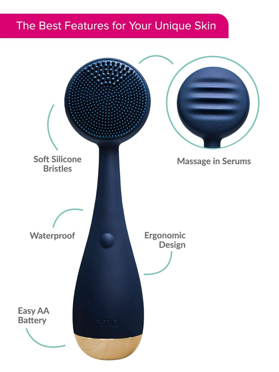 PMD Clean | Smart Facial Cleansing Brush and Face Massager Device for Youthful Skin | Navy with Gold by PMD Personal Microderm (Image #7)
