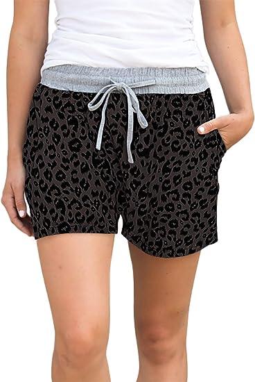 Famulily Womens Summer Beach Shorts Casual Comfy Pajama Shorts with Drawstring