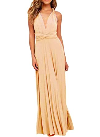 a984c19805 Kinikiss Women Sleeveless Evening Dress Polyester Apricot High Waist Convertible  Multiway Wrap Bridesmaid Formal Long Dresses (XL)  Amazon.co.uk  Clothing
