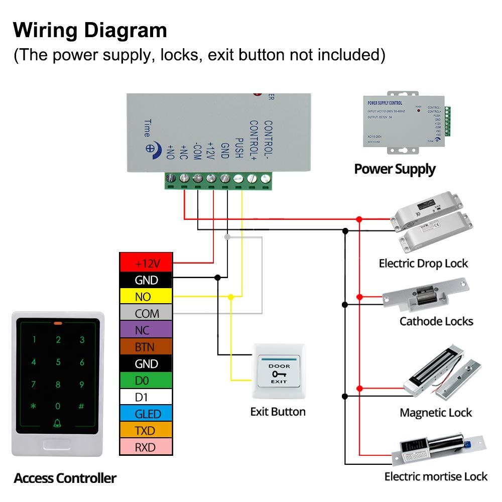 10 etiquetas de 125 KHz EM4100 para llavero Sistema de control de acceso de puerta de metal con teclado RFID y lector de tarjetas con Wiegand 26//34 bit HFeng Touch