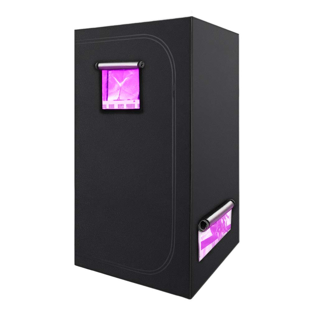 WAKYME Indoor Grow Tent 24x24x48 inches Growing Tent Room 600D Mylar Hydroponic Growing Tent with Tool Bags, Observation Window and Floor Tray for Indoor Plant Growing