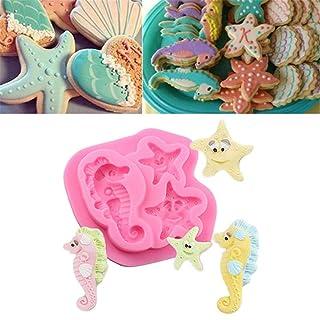 luckything Stampo per Torta Fondente 3D Starfish e cavallucci marini Cartoon Shape Antiaderente Sugarcraft per Decorazione Torta