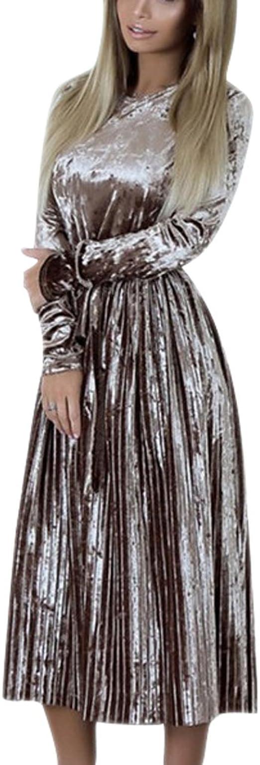 Damen Elegant Langes Samtkleid Rundhalsausschnitt Langarm