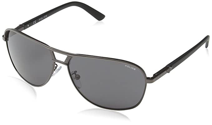 Police Herren S8955 Offside 2 Groß Sonnenbrille, Matt Gunmetal & Dark Grey Frame/smoke Gradient Lens