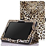 MoKo Case for Fire HD 7 2014 - Slim Folding Cover with Auto Wake / Sleep for Amazon Kindle Fire HD 7 Inch 4th Generation Tablet (Not Fits HD 7 2015), Leopard BROWN