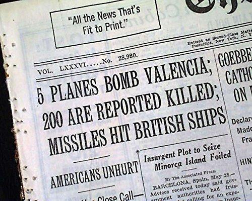 VALENCIA SPAIN Airplanes Bombing AIR RAID Spanish Civil War