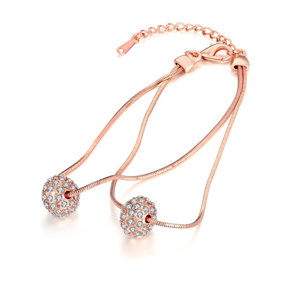 Sterling Silver Plated Ball Oval Cable Chain Charm Bracelet Mother Gift (F)