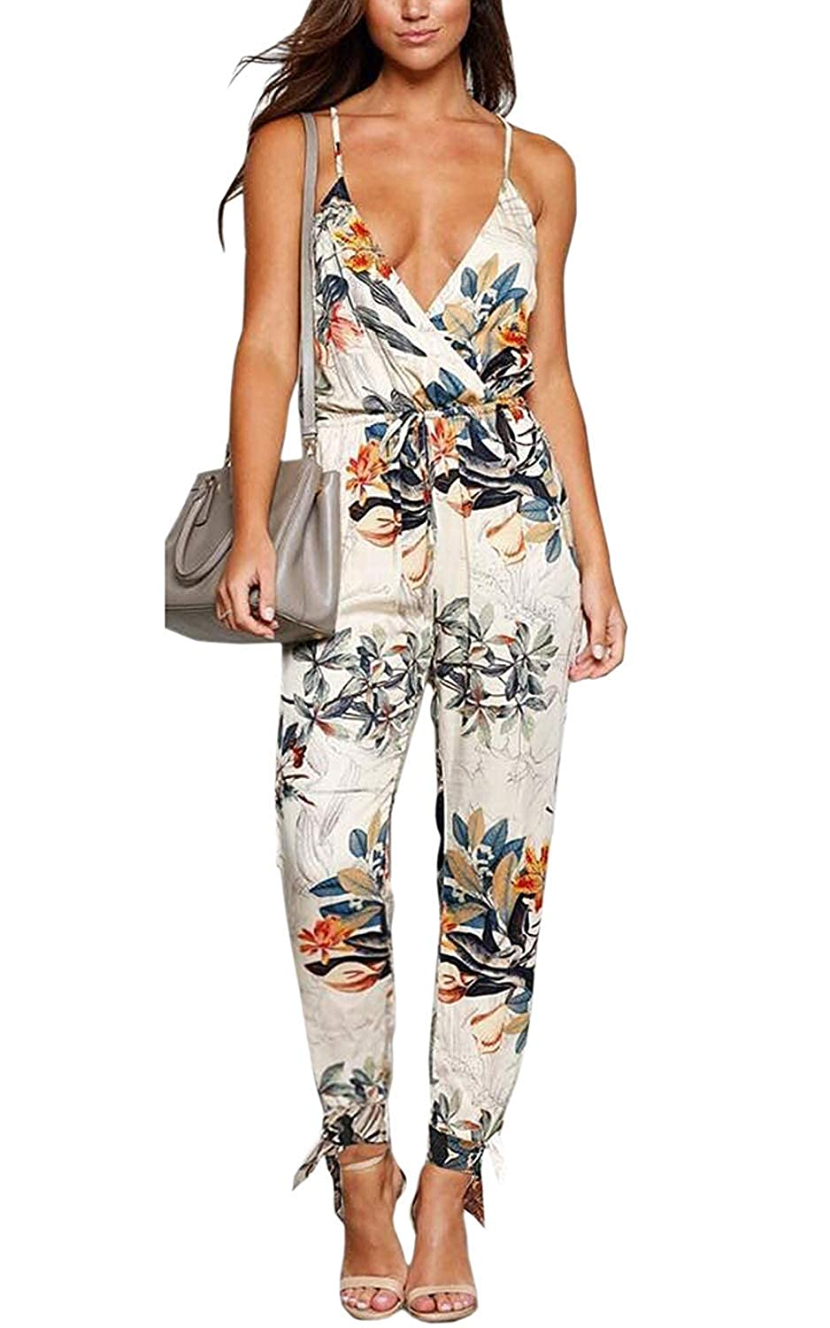 QUEENIE VISCONTI Women Wide Leg Jumpsuits  Summer Spaghetti Strap Floral Vacation Beach Drawstring Pants Rompers White