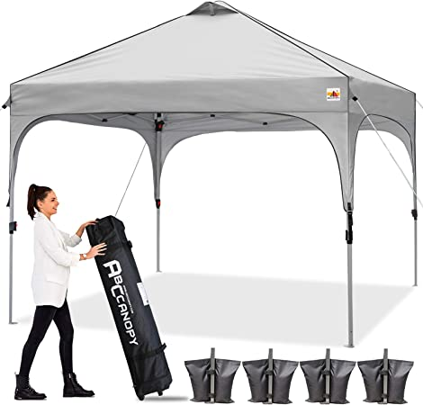 Amazon Com Abccanopy Canopy Tent 10x10 Pop Up Canopy Outdoor Canopies Super Comapct Canopy Portable Tent Popup Beach Canopy Shade Canopy Tent With Wheeled Carry Bag Bonus 4xweight Bags 4xropes 4xstakes Gray