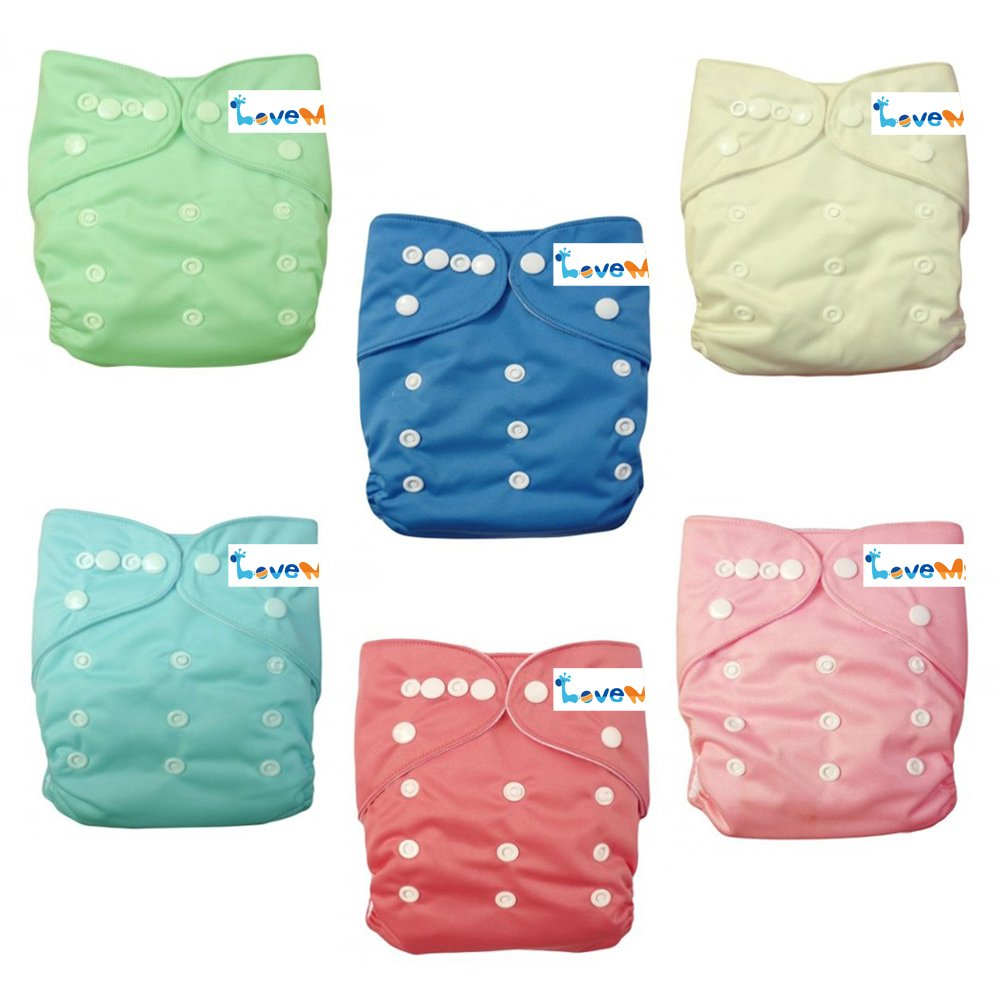 Love My'' (Cinderella Color)''baby Girl Washable Reusable Cloth Diapers,breathable, Adjustable Snap, 6 Diapers + 6 Inserts