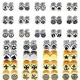 Black Logo Men Women Unisex Screw Back Pierced Gold Silver Stainless Steel Ear Fake Plugs Earrings Studs