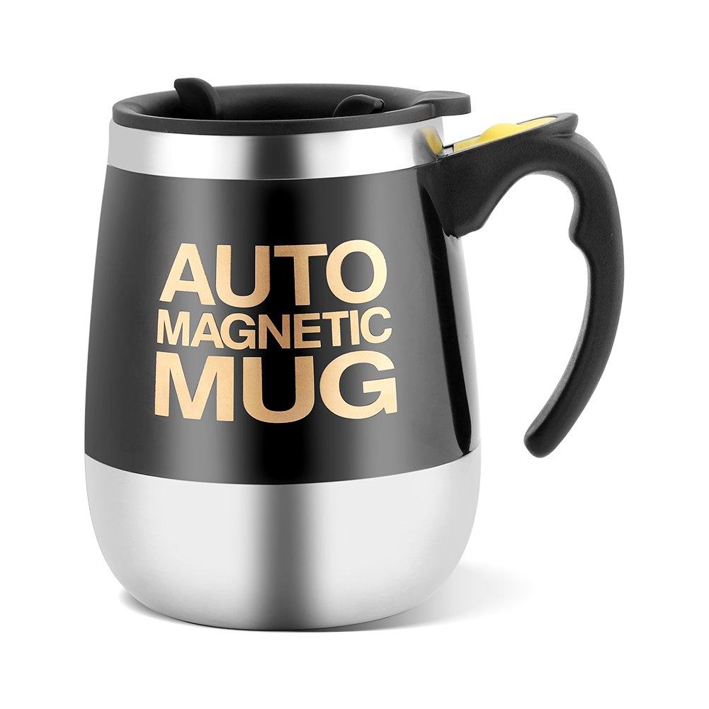 Magnetischer mischender Becher Edelstahl Selbstumrührender selbstmischender Schalen magnetischer rührender Kaffee / Tee / heißer Schokoladen Becher (Schwarz) huhushop