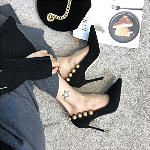 37 Heel Wild zapatos Transpirable Sandalias negro de seguido Shoes solo moda Ocasional elegante luz la Ajunr punta fina de Mujer de 38 alto 9cm TqWnxpfpw