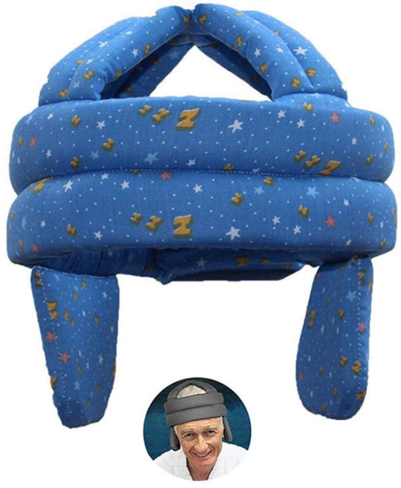 Elderly Hat Health Protection Breathable Anti Shock Cap Anti Fall Head Sponge Safety,Head Protection Hat with Velcro,Anti-Collision Soft Cap Grey Anti-Fall Head Protection Safety Helmet