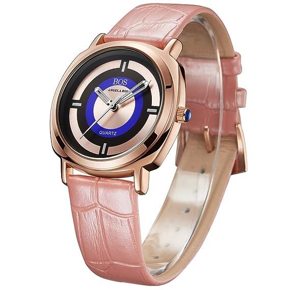 BOS Mujer anolog de cuarzo japonés luminated puntero reloj hebilla correa de piel reloj brilla en la oscuridad pulsera pulsera rosa 8007: Amazon.es: Relojes