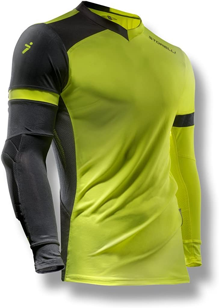 Storelli ExoShield Gladiator Goalkeeper Jersey | Padded Elbow Sleeves | Lightweight Soccer Jersey Shirt | Strike | Medium