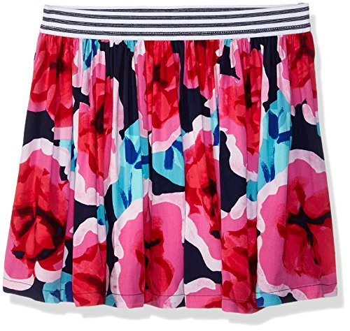 Skirt Woven Elastic Waist (Gymboree Little Girls' Woven Skirt with Elastic Waistband, Large Floral Print, L)