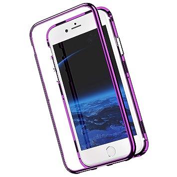 Funda magnetica Compatible con iPhone 8/7 Carcasa 360 Grados 2 en 1,Espejo Mirror rígido PC Tapa [Adsorción Magnética] Marco de Metal Caja Dura ...