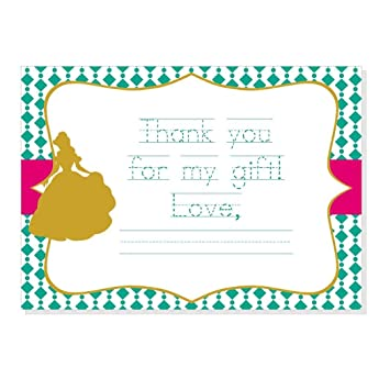 amazon com pretty princess thank you notes with traceable fill in