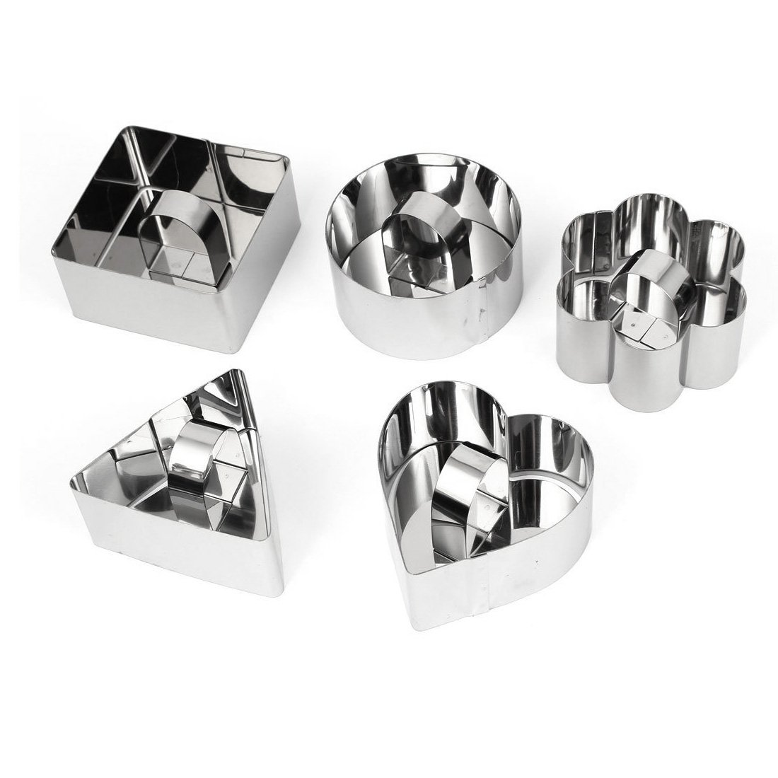 uxcell Stainless Steel DIY Small Mousse Ring Lamy Cheese Cake Mold Food Moulding Tools (5 in 1)