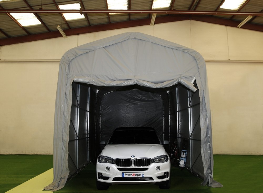 interouge Carport 3,5 x 7 m in verzinktem Stahl und ein Dach, Die In PVC 500 g/m² Pavillon Boot Shelter Himmel Garage grau