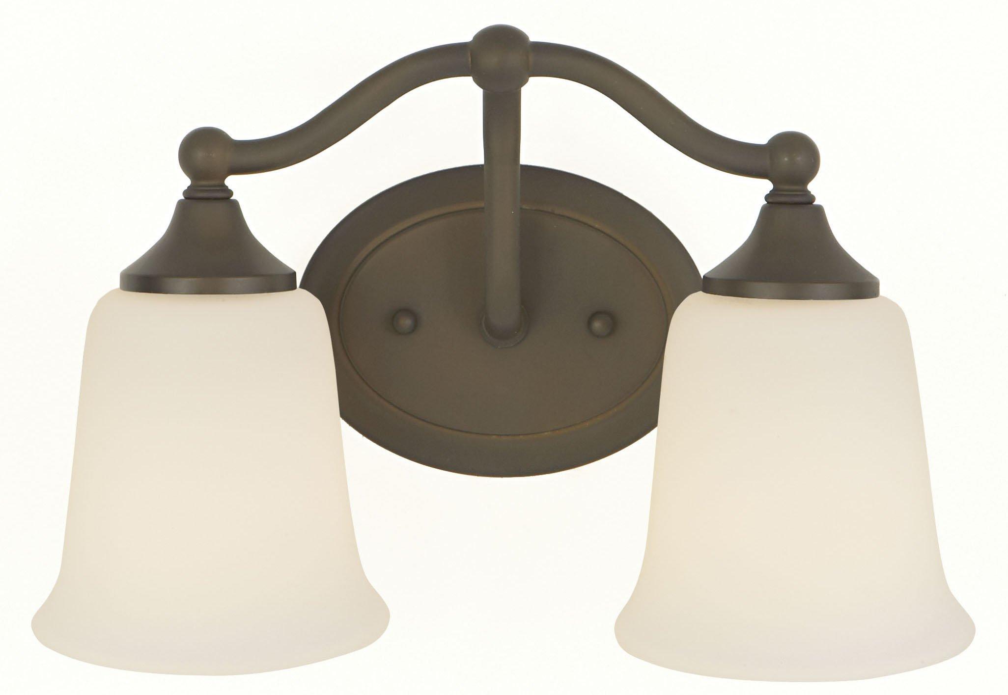 Feiss VS10502-ORB Claridge Glass Wall Vanity Bath Lighting, Bronze, 2-Light (13''W x 8''H) 200watts