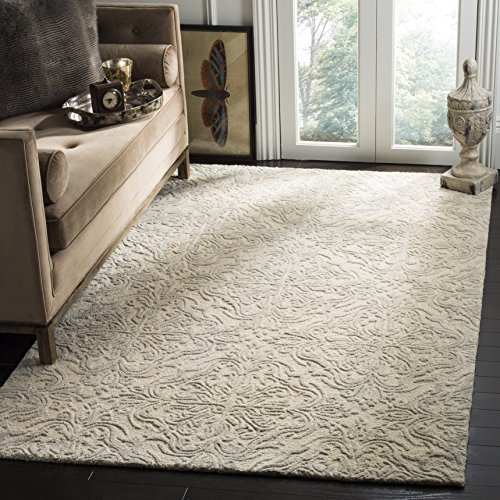 Safavieh Blossom Collection BLM103A Ivory and Grey Floral Vines Premium Wool Area Rug (5' x 8')