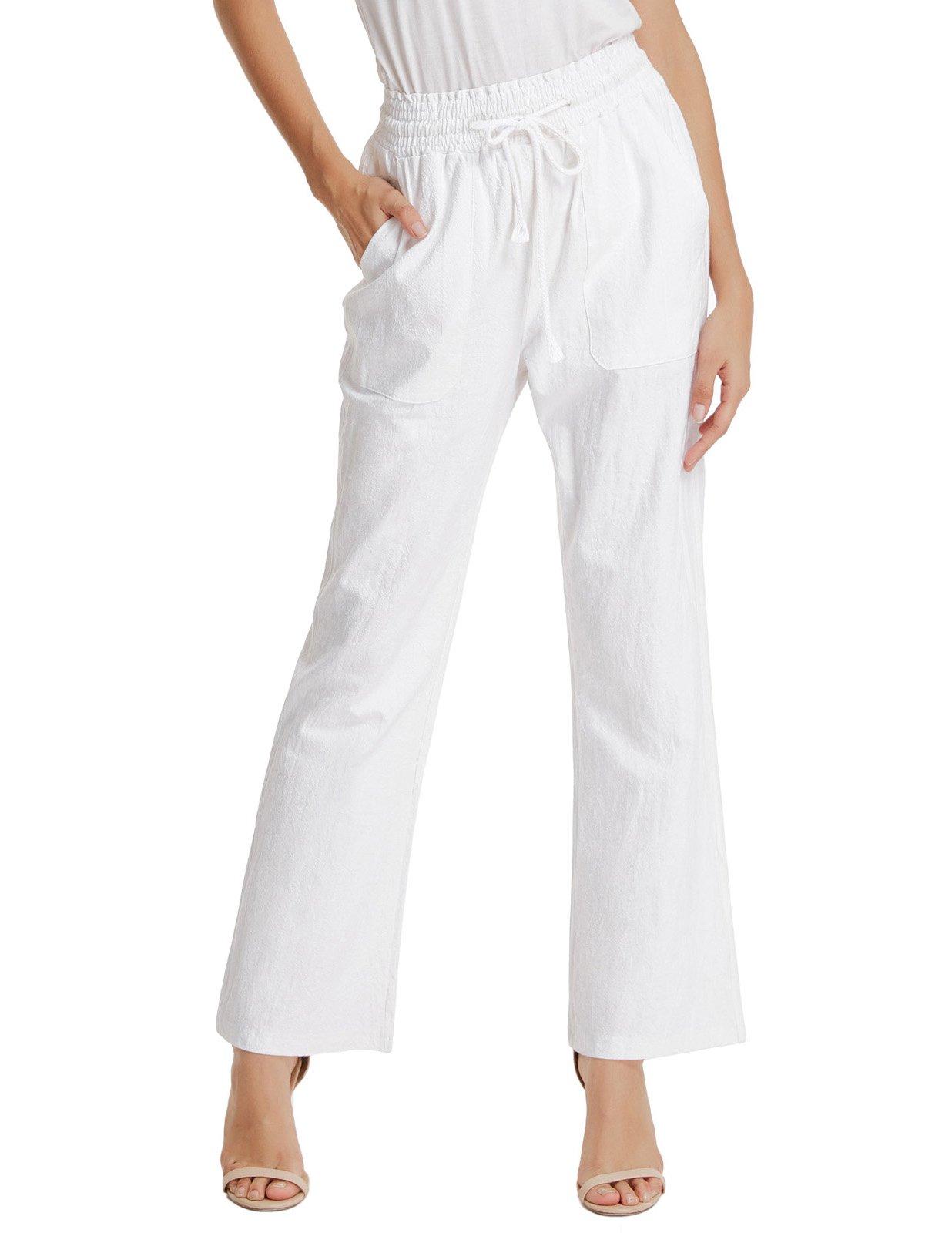 GRACE KARIN Women's Relaxed Fit Straight Leg Cargo Pant Straight Leg Pant Trouser White L