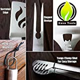 BBQ Grill Tools Set - Heavy Duty 20% Thicker Stainless Steel - Professional Grade Barbecue Accessories - 3 Piece Utensils Kit Includes Spatula Tongs & Fork - Unique Birthday Gift Idea For Dad