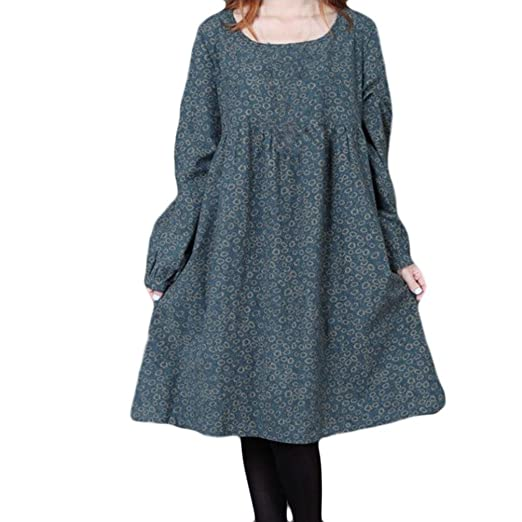 6f94f82aeeb Image Unavailable. Image not available for. Color  BODOAO Women Plus Size  Flower Printing Long Sleeves Dress ...
