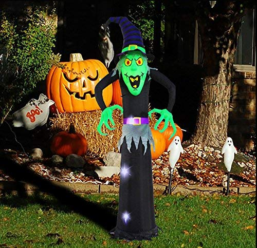 Kemper King 8 Foot Halloween Inflatable Airblown Witch Ghost Lighted for Home Yard Garden Indoor and Outdoor Decoration]()